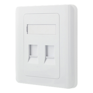 Flush mount for Keystone, 2 ports