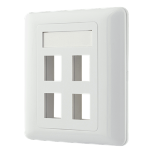 Flush mount for Keystone, 4 ports, white