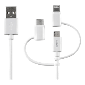 USB C/Micro USB/Lightning-sync/-charge cable, MFi