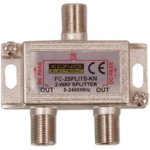 Satellitt F Splitter 6.5 dB / 5-2400 MHz - 2 utg